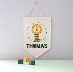 Personalised Tiger Hanging Canvas Wall Flag