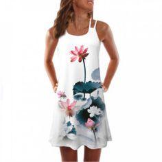 Women Breathable Summer Dress Vintage Sleeveless Floral Print Bohe Tank Short Mini Dress Drop Shipping Arrive Size S Color A Short Mini Dress, White Mini Dress, Short Dresses, Short Sundress, Mini Dresses, Hipster Outfits, Mini Robes, White Dresses For Women, Boho Dress