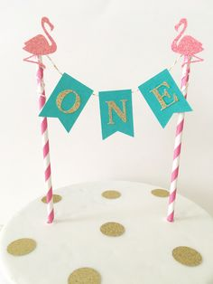 Let's Flamingle First Birthday Cake Topper~ Pink Teal and Gold First Birthday ~ Flamingo Cake Topper~ Flamingo Party Decorations Aloha Party by SweetEscapesbyDebbie on Etsy https://www.etsy.com/listing/398686183/lets-flamingle-first-birthday-cake