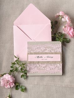 Rustic Pink Lace Wedding Invitation, Pocket Fold Wedding Invitations