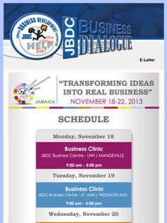 Jamaica celebrates Global Entrepreneurship Week from November 18-22, 2013. Join the JBDC at any of the events to help boost your new business idea, propel existing business ideas or to get information on how to start your new business in Jamaica!