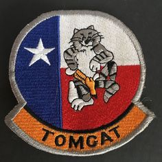 """Patch Navy TOMCAT F14 Color Cloth Red White Blue Star 3.75"""""""