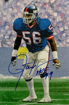 Lawrence Taylor Autographed New York Giants Goal Line Art Card W  HOF-JSA W b5fec52ee