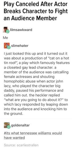 You go, Lacy! I hope he wasn't punished too severely for that because the audience member deserved it