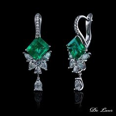 Dive into spring with bright green emerald set from #DeLaur Jewelry House. #Ring #Earrings #WhiteGold #Emeralds #Diamonds #FineJewelry #Spring2016 Model: SK 299