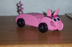 "Second year of Awana Grand Prix, we knew a little more. This was our ""Rhode Hog"". Not a very fast one, but this little piggie took first place in design which made for a delighted first grade girl!! This was in 2005."