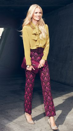 print pant + mustard blouse (i have a skirt similar to the print)