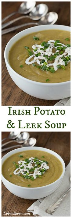 Easy Irish potato leek soup recipe is fast and delicious. Just a few ingredients is all you need. Makes a great vegan meal when you use vegetable stock. | ethnicspoon.com
