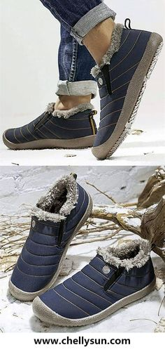 b97913967a85 Free Shipping! 50% OFF Waterproof Fur Slip On Snow Boots. Shop Now!