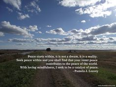 Peace starts within, it is not a dream, it is a reality. Seek peace within and you shall find that your inner peace contributes to the peace of the world. With loving mindfulness I seek to be a catalyst of peace. – Pamela J. Leavey Namaste…