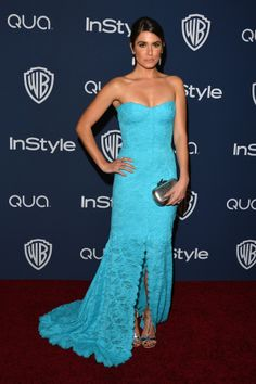 Nikki Reed sported a bold blue dress for the Golden Globes afterparty