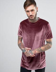 ASOS Longline Velvet T-Shirt In Pink