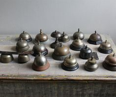 collection of old and antique desk bells and store counter / door bells, not all of them nickel silver, but all of them lovely!
