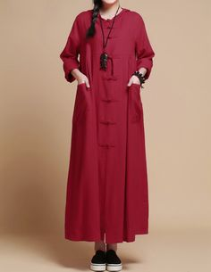 Fabrics; linen  Color: Red, dark green, dark blue  Size: Shoulder 38cm / 15  Bust 106cm / 42  Sleeve 56cm / 22  Waist 106cm / 42  Skirt Length 120cm / 47  Hem 190cm / 75   Have any questions please contact me and I will be happy to help you.