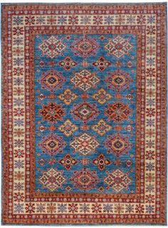 "Handmade Afghan Blue Oriental Kazak Rug 5' 9"" x 7' 9"" (ft) - No. 10475  http://alrug.com/blue-oriental-kazak-rug-5-9-x-7-9-ft-no-10475.html"