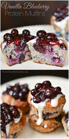 Protein Treats By Nicolette : Blueberry Vanilla Protein Muffins I Just made these and they are fresh out the oven. They look amazing! Protein Desserts, Healthy Protein Snacks, Protein Cake, Protein Foods, Healthy Baking, Healthy Desserts, Dessert Recipes, Protein Cookies, Cake Recipes