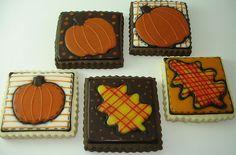 Autumn leaf and pumpkin quilt blocks -