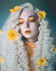 Yellow flower white girl