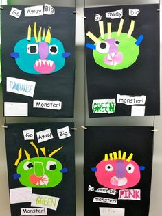 Read GO AWAY, BIG GREEN MONSTER!, and then have kids create their own monsters, using colors and shapes to tell you about themselves (monster glyphs). Very cool idea. Will require parent support for preschool children. Halloween Activities, Classroom Activities, Halloween Themes, Book Activities, Halloween Crafts, Preschool Classroom, Classroom Ideas, Fall Preschool, Preschool Crafts