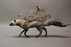 Silver Fox with Crows  original OOAK sculpture by creaturesfromel