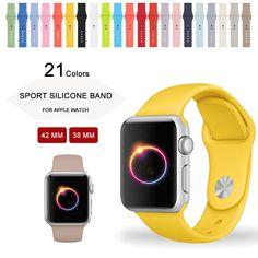 2016 새로운 노란색 스포츠 스트랩 시계 밴드 애플 시계 실리콘 밴드 새로운 색상