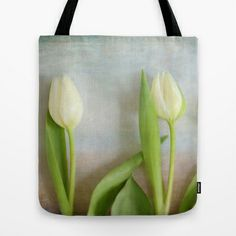 Three Tulips - JUSTART © Tote Bag by JUSTART * - $22.00  #justart #society6 #bag #totebag #tulip #flower #floral #white #green #texture #blue