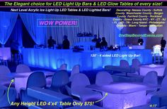 Ice Like Bars & Tables are spectacular - Dehily Uv Black Light, Light Up, Essex County, Suffolk County, Bergen County, Glow Table, Chandelier Centerpiece, Disco Theme, Prom Decor