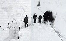 Entrata di un tunnel austriaco scavato nella neve del Monte Cristallo - Hohe Schneide, a sud del passo dello Stelvio, 1917.