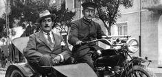 Giacomo Puccini riding in a sidecar.