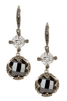 Sterling Silver Hematite & Cubic Zirconia Double Drop Earrings by Judith Jack on @nordstrom_rack