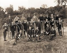 High Wheel Bicycle Club Group Photo - circa 1885