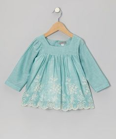 Another great find on #zulily! Blue Eyelet Embroidered Tunic - Infant & Toddler #zulilyfinds