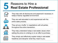 5 Reasons to Hire a Real Estate Professional. It's obvious to US but is it obvious to prospective buyers and sellers?