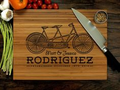 Personalized Cutting Board Wedding Gift Tandem Bicycle by WoodKRFT Custom Cutting Boards, Engraved Cutting Board, Personalized Cutting Board, Holiday Gifts, Christmas Gifts, Couple Gifts, Bff Gifts, Friend Gifts, Teacher Gifts