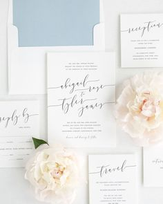 The Garter Girl Loves- This romantic calligraphy wedding invitation suite