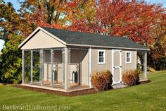 12'x24' Dog Kennel with Optional Deluxe Dog Doors, Feedroom, and Individual Runs for 4 Dogs