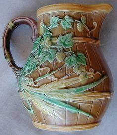 Old-Original-Sarreguemines-Majolica-Pitcher-Number-499-Circa-1900s-Very-Rare