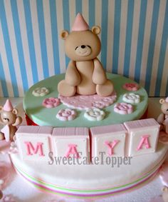 3 Cute Teddy Bear Fondant Cake Topper - Handmade Edible Cake Topper - 1 Set via Etsy