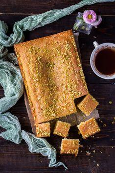 Saffron & Rose Water Sheet Cake with Orange blossom honey syrup Poke Cakes, Cupcake Cakes, Iraqi Cuisine, Traybake Cake, Saffron Cake, Orange Blossom Honey, Sugar Pie, Sheet Cake Recipes, Honey Cake