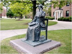 """This bronze statue of Elizabeth Blackwell is on the Campus of the former Geneva Medical College (now the Hobart &  William Smith College) where she was admitted in 1847 (after being refused by 16 medical schools!) and graduated, 1st of her class, in 1849, becoming the first female physician of the United States. The bronze tablet in front of the monument says """"...Her life was devoted to women's and children's health care, reproductive education, and to opening the medical profession to…"""