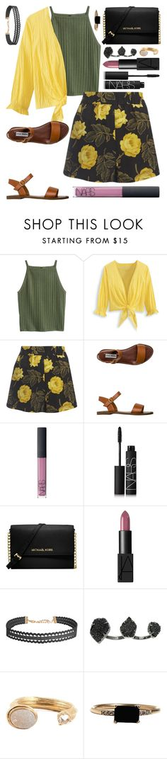 """Princess tag in d :)"" by kk-purpleprincess ❤ liked on Polyvore featuring Ganni, Steve Madden, NARS Cosmetics, Michael Kors, Humble Chic, Kendra Scott, Kelly Wearstler and LUMO"