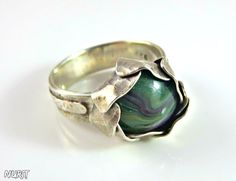 Green stone ring sterling silver flower ring by NuritJewellery