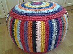 STUFFED Crochet Pouf 38 cm/60 cm/23 by AnuszkaDesign on Etsy