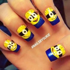 Minion Nails with blue French tip Fancy Nail Art, Cute Nail Art, Cute Nails, Minion Nail Art, Owl Nails, Funky Nails, Disney Nails, Fabulous Nails, Cute Nail Designs