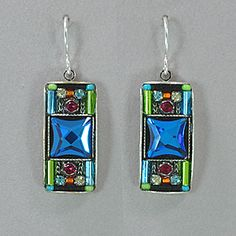 Firefly Mosaic Rectangle Earrings - Multicolor with Sapphire Blue Crystal