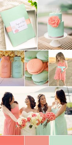 Peach Echo a 2016 Pantone top 10 color of the year to add a pop of color to your beach themed wedding ceremony. ideas tematic How to Plan a Beach Themed Wedding Ceremony: Best Tips Peach Wedding Colors, Wedding Mint Green, Spring Wedding Colors, Wedding Color Schemes, Coral Mint Wedding, Mint Wedding Dresses, Mint Green Bridesmaid Dresses, Wedding Flowers, Wedding Ideias