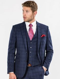 Blue Checked Slim Fit Three Piece Suit