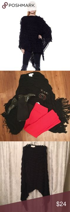 💥3/$23💥 NWT Black Colleen Lopez Ruffle Poncho OS 💥This item is a part of our WEEKEND DEAL. BUY any 3 items between $10 and $15 and get them for a total of $23! Can't beat it!💥New with tags! One size fits all. This flowy and ruffly black poncho by Colleen Lopez with cowl neck is what your poncho dreams are made of. Pair with some skinny/straight leg pants and high boots and you will be trendy GOALS. Colleen Lopez Jackets & Coats