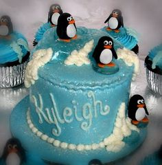 Stacey's Sweet Shop - Truly Custom Cakery, LLC: Penguin Mini Cake and Cupcakes with sugar icebergs.