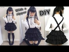 DIY Easy Cosplay Japanese Uniform Inspired by Date a Live + How to Sew Invisible Zipper on a Dress - YouTube